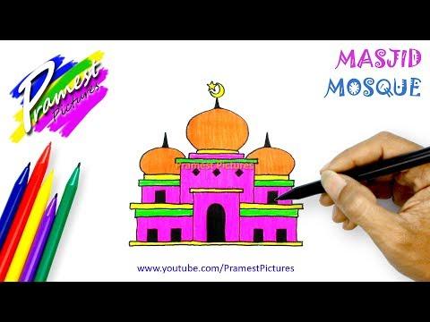 Masjid Cara Menggambar Dan Mewarnai Gambar Untuk Anak Anak Youtube