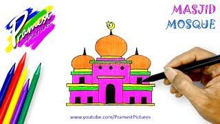 Masjid | Cara Menggambar Dan Mewarnai Gambar Untuk Anak-anak