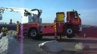 Accident échelle pivotante à mouvement des pompiers volontaire le 20 juin 2013