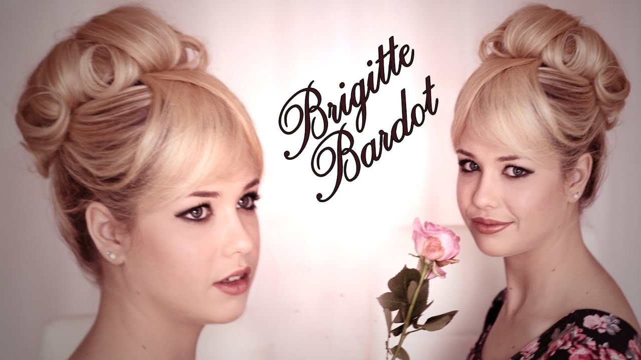 Brigitte Bardot hair and makeup tutorial. Updo hairstyle for wedding ...