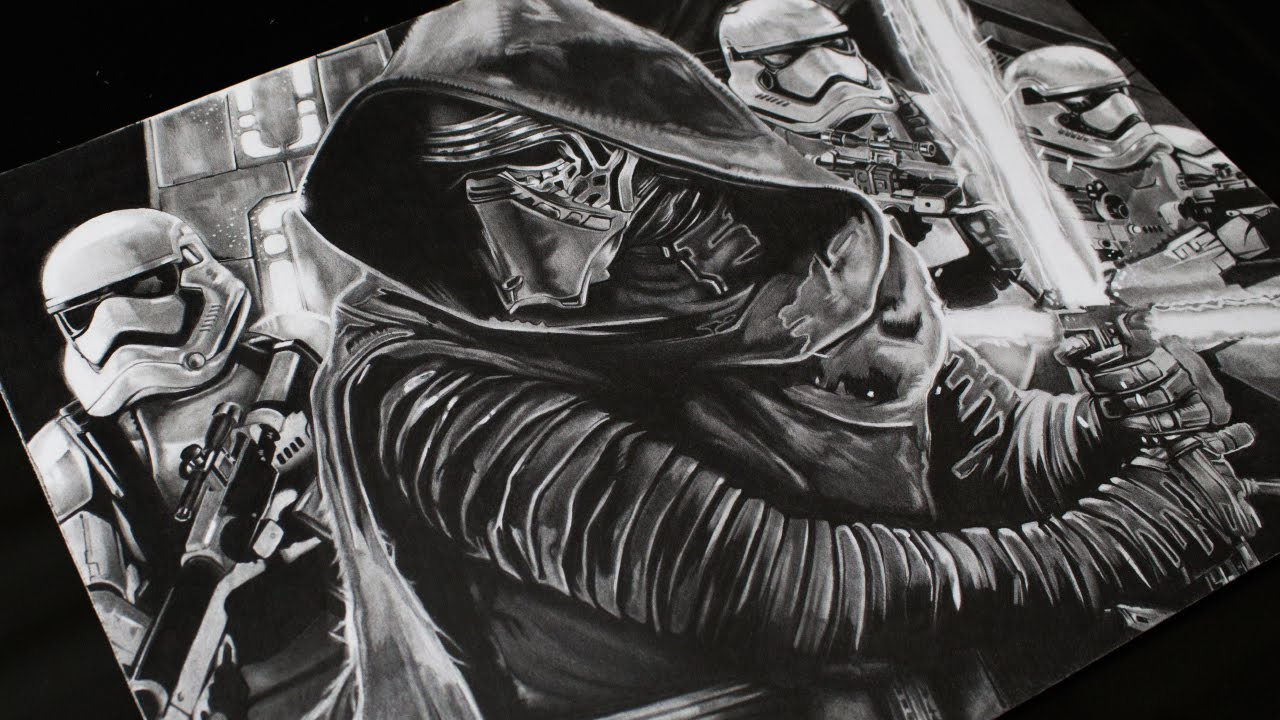 Drawing Kylo Ren Star Wars Realistic Drawing YouTube