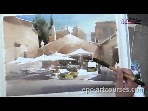 Liu Yi in Spain, plein air full Watercolor demo in Peratallada