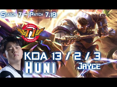 SKT T1 Huni JAYCE vs CASSIOPEIA Mid - Patch 7.18 KR Ranked