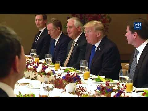 President Trump Participates in a Working Lunch with Prime Minister Shinzo Abe of Japan