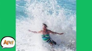 Watch the Ocean EAT HER! 🤣 | Best Funny Water Fails | AFV 2021