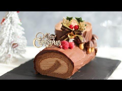 チョコレートロールケーキ:ブッシュドノエルの作り方 Chocolate Swiss Roll Cake|HidaMari Cooking