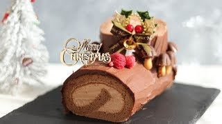 Bûche de Noël:Chocolate Swiss Roll Cake|HidaMari Cooking