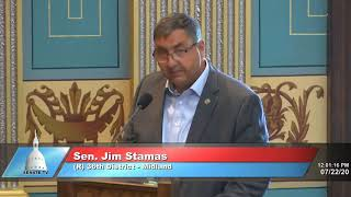 Sen. Stamas addresses the Senate on supplemental budget bills
