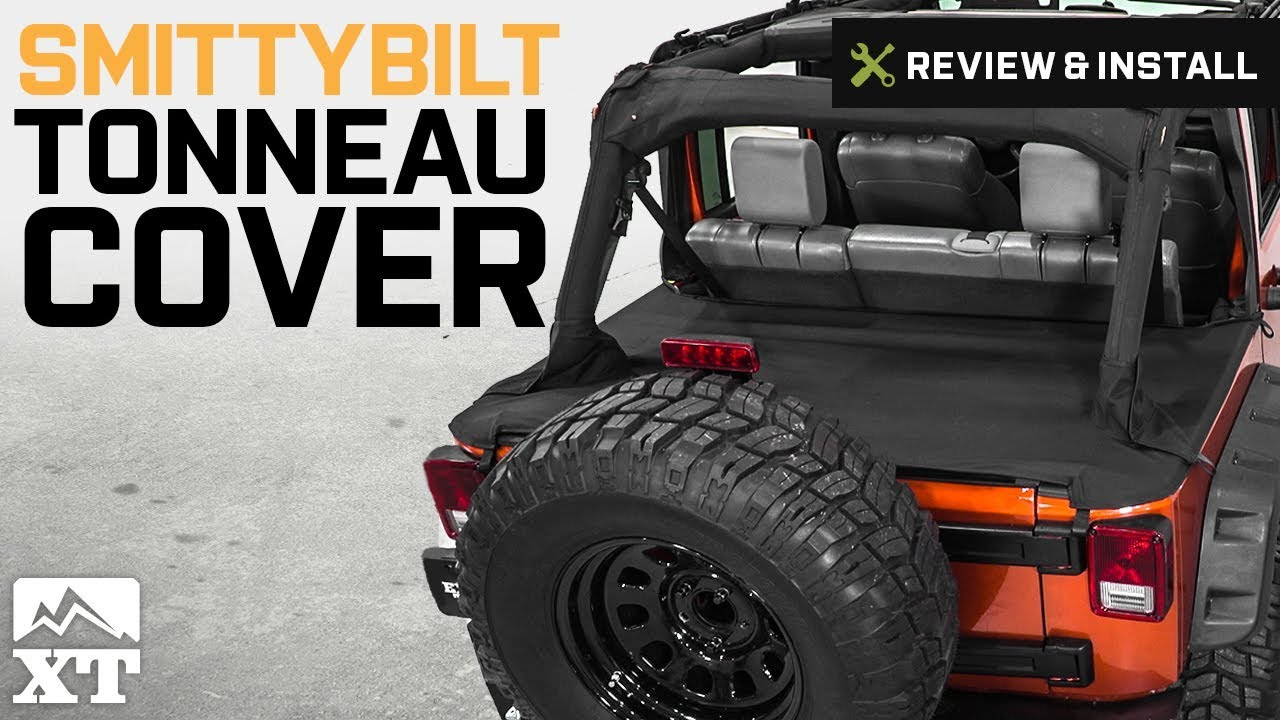 jeep wrangler smittybilt tonneau cover 2007 2018 jk 4 door review install youtube. Black Bedroom Furniture Sets. Home Design Ideas