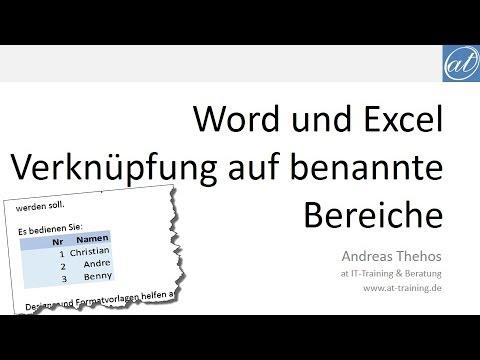 Word Und Excel Dynamische Verknüpfung Mit Benannten Bereichen