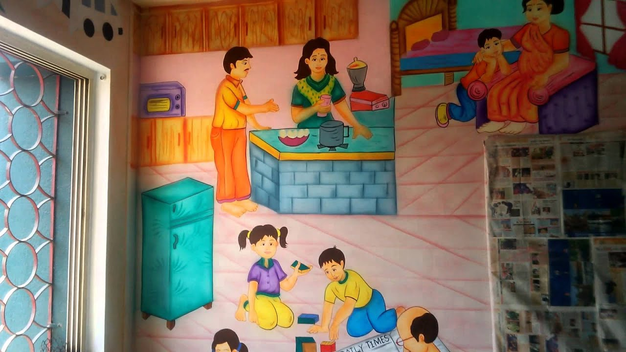 play school wall painting themes