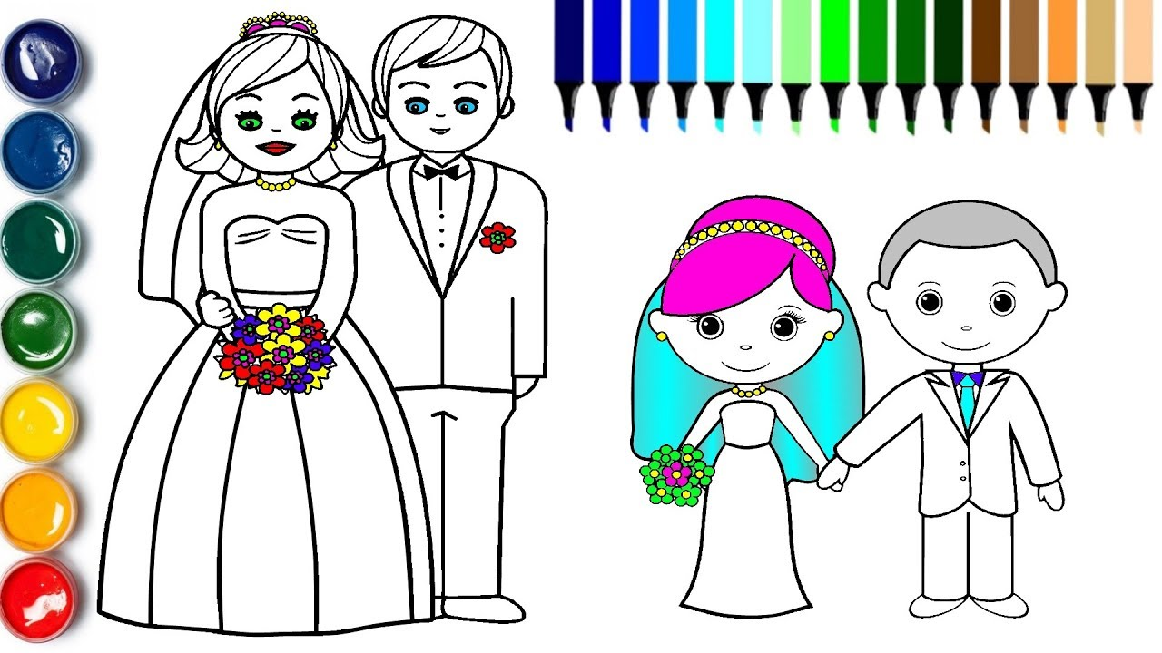 Little Bride and Groom Coloring Page How to Draw Groom Bride