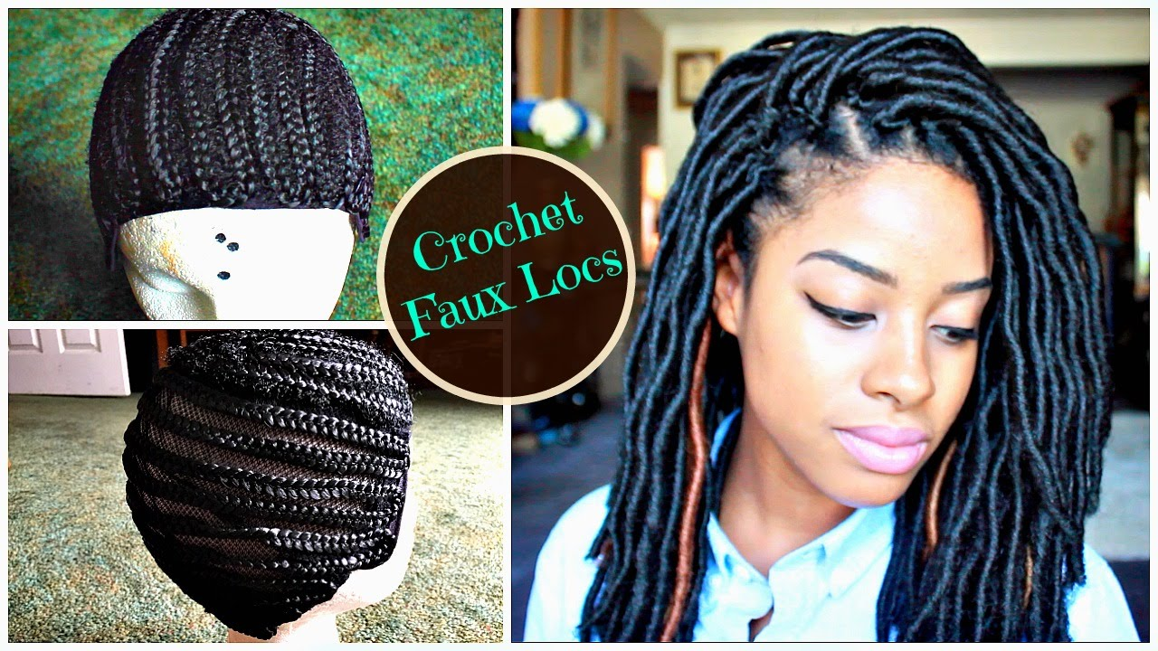 How To Install Natural Looking Crochet Faux Locs On Braided Cap