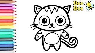 Раскраска для детей КОТЕНОК. Рисуем Котенка. Мультик - раскраска. УЧИМ ЦВЕТА