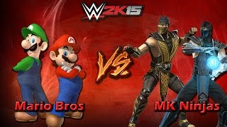 WWE2K15 - Scorpion and SubZero vs The Mario Bros