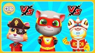Том погоня героев VS Гарфилд Китайский Дракон VS Рыжий Кот Пират. Кто круче? Три Кота бег за золотом