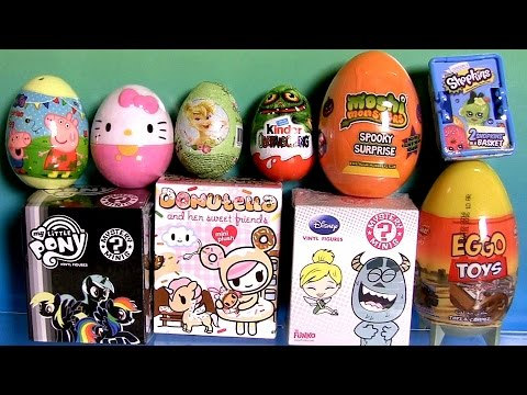 Thumbnail: Huge Toy Surprise Eggs Donutella Moshi Shopkins Peppa Glitzi-Globes LEGO TinkerBell Mystery Minis
