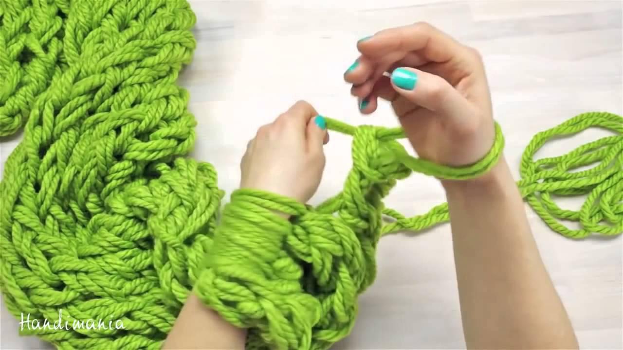 мастер класс как связать рукой стильный шарф за 30 минут Youtube