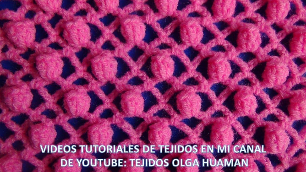 punto popcorn combinado con puntos red tejido a crochet para blusas ...