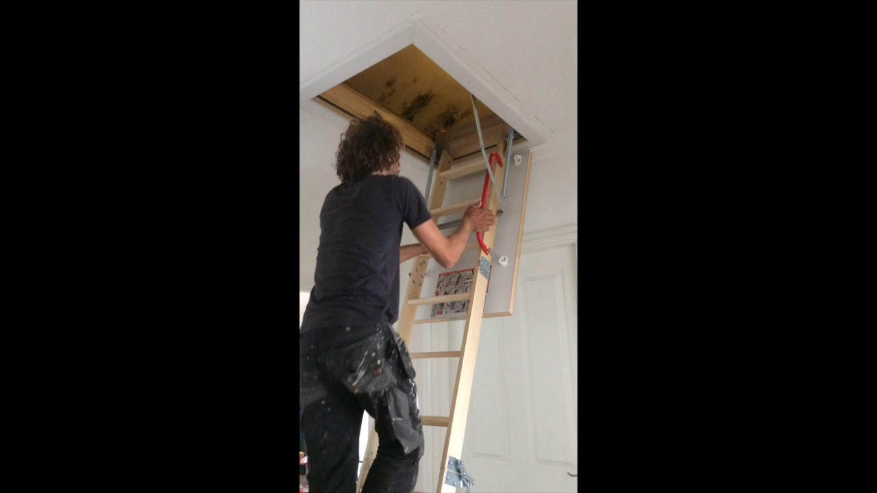 Empire lofts 4 section bi-folder wooden loft ladder & Empire lofts 4 section bi-folder wooden loft ladder - YouTube