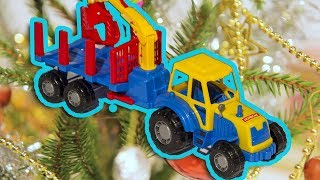 Трактор поздравляет животных с Новым Годом! Развивающий мультик.