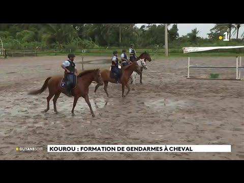 Kourou : formation de gendarmes � cheval