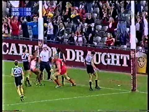 St.Kilda v Sydney round 5 - 2002. One of the most dramatic AFL finishes ever!