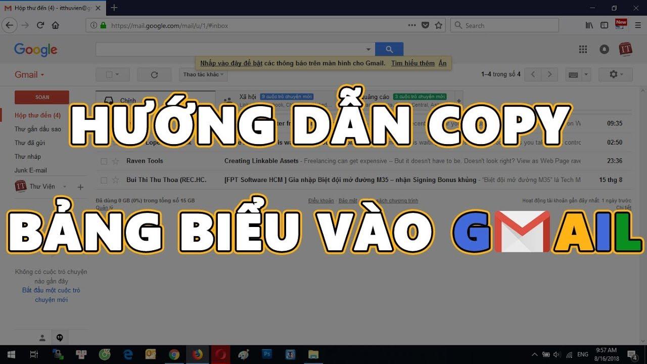Hướng dẫn copy bảng Excel vào Gmail