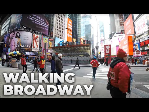 ⁴ᴷ Walking Tour of Manhattan, NYC - Broadway from Times Square to South Ferry