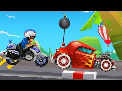 Мультфильм про машинки. Гоночные машины. Полицейский мотоцикл, Ламборджини. Игры для мальчиков.