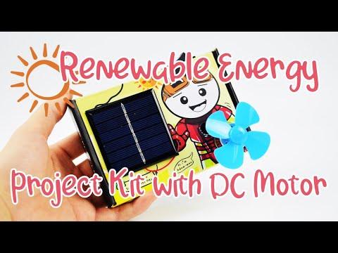 Simple Solar Renewable Energy Project Kit with DC Motor Fan