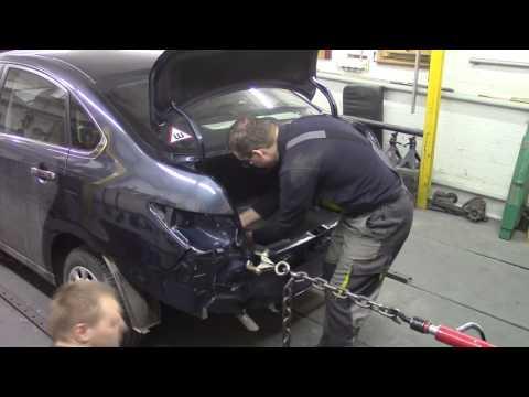 Кузовной ремонт. Ниссан Альмера, чуть-чуть зад. Body repair.