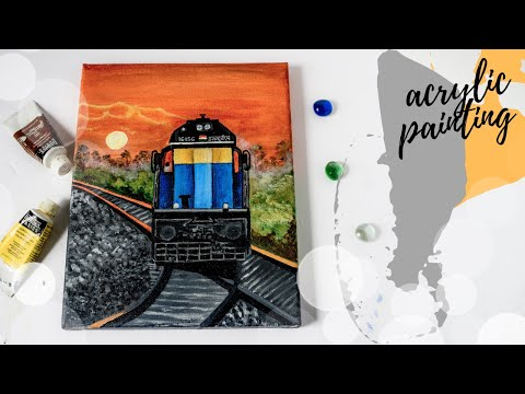 Sunset Painting Ideas for beginners|Step by Step Acrylic Painting Tutorial|Landscape Painting Ideas