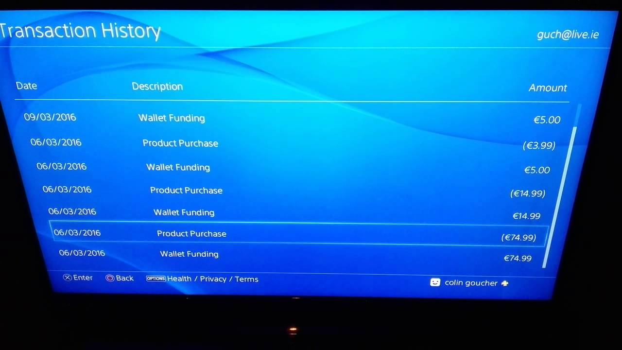 how to delete transaction history on ps4