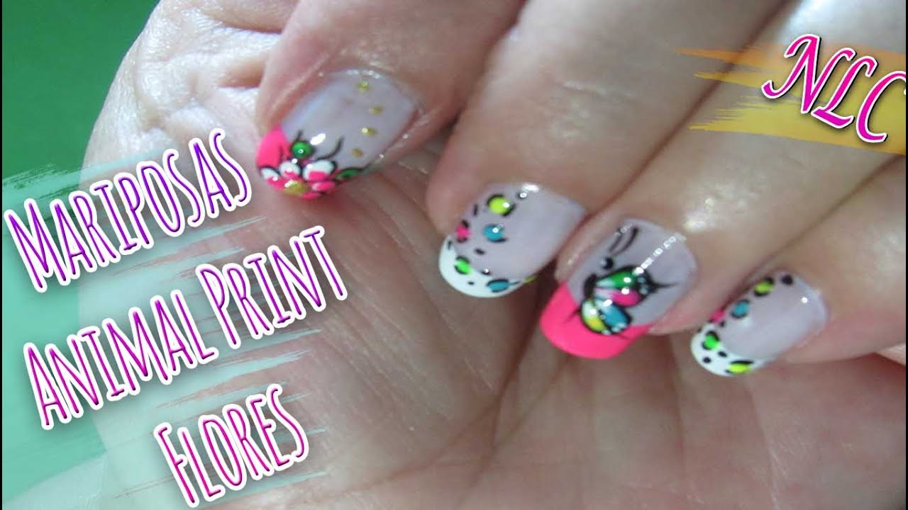 Decoración de Uñas Mariposa Con Animal Print Y Flores , Butterfly And Flowers Nail Art , NLC , YouTube