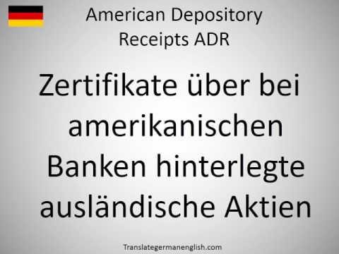 How to say American Depository Receipts ADR in German?