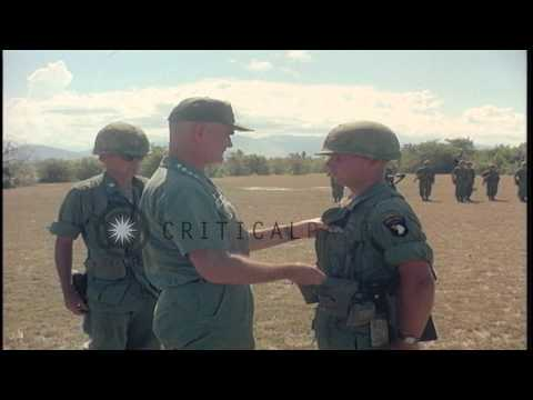 General William C. Westmoreland discusses with men of 101st Airborne Division in ...HD Stock Footage