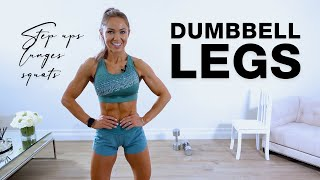 20 Min DUMBBELL LEG WORKOUT | Step Ups, Lunges, Squats