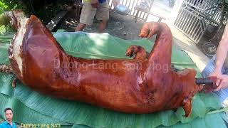 cán Bộ ngân hàng ngày thứ 4 đi bán thịt (heo, lợn)quay món hęo qขay lạng Sơn, hạ bút cầm dao