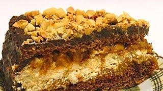 Торт «Сникерс» с Арахисом видео рецепт(Торт безумно вкусный, с арахисовой прослойкой и хрустящим безе внутри. Процесс приготовления не выглядит..., 2015-01-27T05:00:03.000Z)