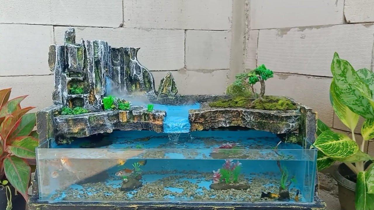 Ide Dekorasi Air Terjun Akuarium Kolam Ikan Koi Dengan Menggunakan Styrofoam Box