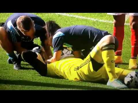 Thibaut Courtois head injury vs arsenal