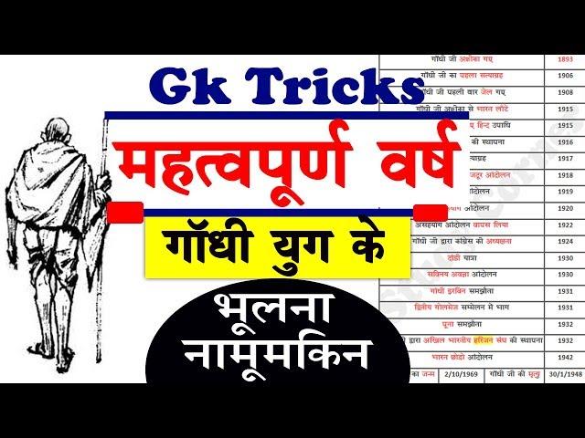 Gk Tricks: गांधी युग और संबंधित महत्वपूर्ण वर्ष Trick | Gandhi Yug and related year