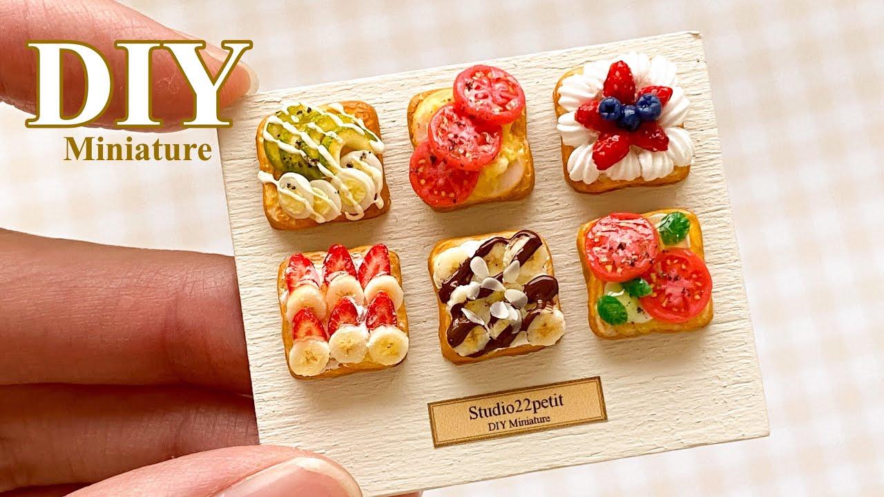 【粘土】ミニチュアのトーストアレンジ 6種類【ミニチュアフード】DIY Miniature 6 types of toast arrangement | Clay