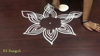 simple padi kolam lotus design for Dhanurmasam muggulu || Creative color Padi kolam for sankranthi