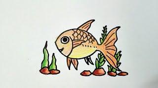 วาดรูป ปลาทอง การ์ตูน goldfish ง่ายๆ น่ารัก