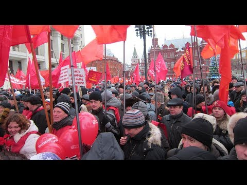 LIVE from Russia - Communist Party supporters march through Moscow -