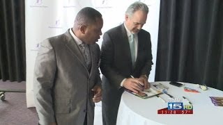 Joe Whelan reports on Chuck Pagano's visit to Fort Wayne for Big Brothers Big Sisters event on 4/17/