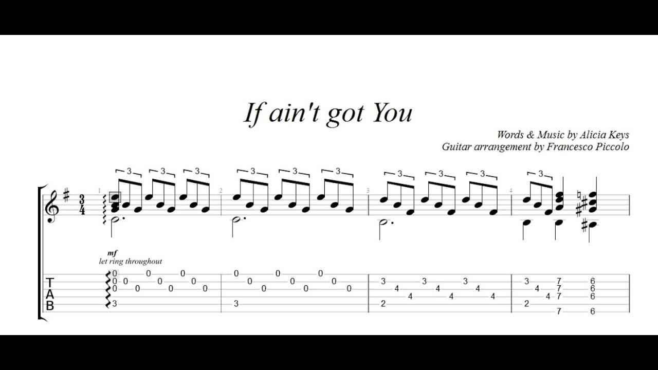 Fingerstyle Guitar Alicia Keys If Aint Got You From Hits