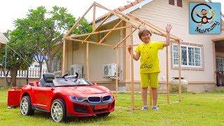 Манкиту строим детский домик для Милана. Красная машина и прицеп. МанкиТайм Kids Show
